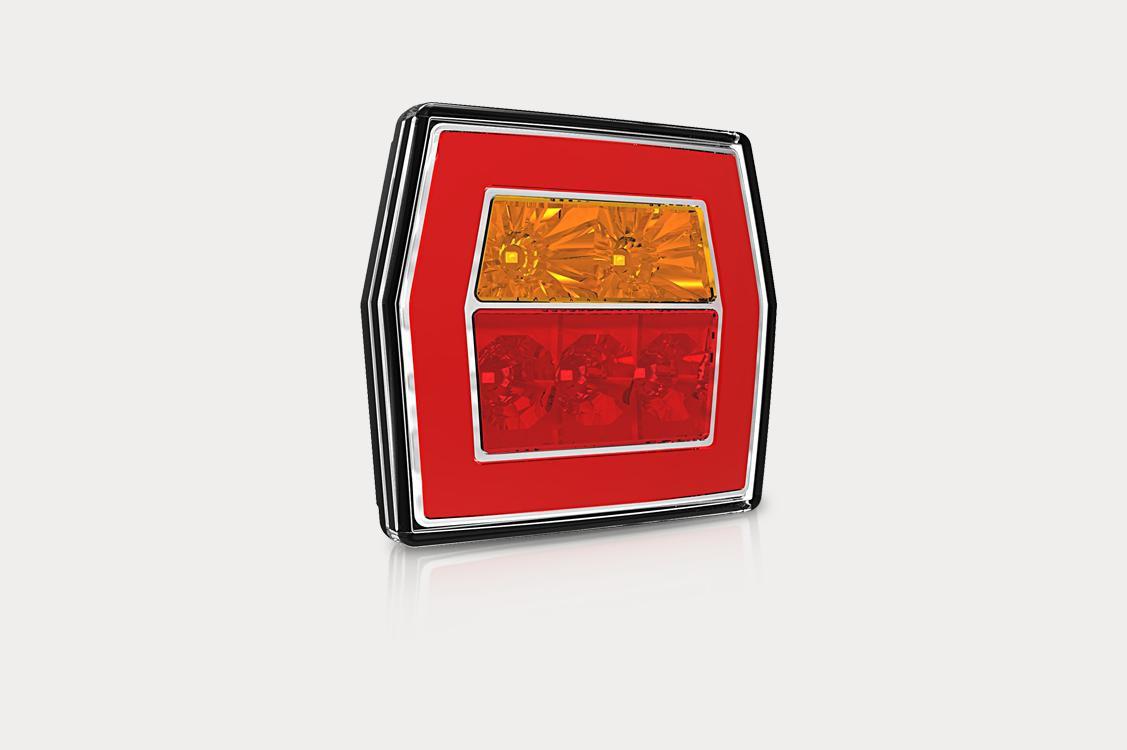 Фонарь задний п/прицеп 3 секции с красным стеклом LED (с проводом) прямоугольный FT122LED FRISTOM